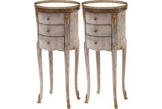 """Louis XV-Style Side Tables, Pair on OneKingsLane.com 14""""W x 11""""D x 29.5""""H Distressed mahogany revealed from layers of aged painted detail. Gilded bronze plaques have marquetry with pearl marble tops."""