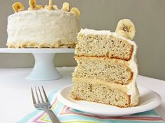 Banana Layer Cake with Peanut Butter Cream Cheese Frosting.