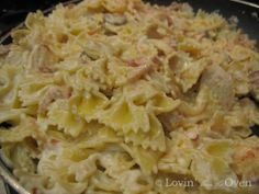 """Johnny Carino's """"Bowtie Festival"""", so creamy and delicious but a not an easy or cheap dish to make by any means"""