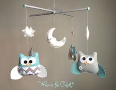 Baby Mobile  Neutral Chevron Owl Mobile  for von WhooosTheCutest, $85.00