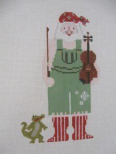BRAND NEW DESIGN! Handpainted Needlepoint Canvas Petei Cajun Santa Alligator 903