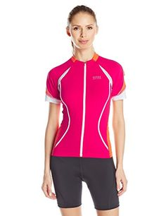 GORE BIKE WEAR Women's Oxygen Full Zip Jersey, Jazzy Pink/Blaze Orange, Large Gore Bike Wear $56.22