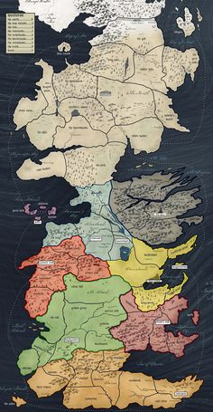 Westeros Map by House #GameofThrones #Westeros #Houses #Map