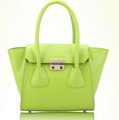 green candy color bat genuine leather shopping bags by starbag, $69.50