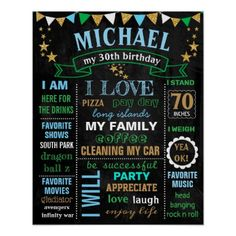 Adult Birthday Man Men Party chalkboard sign ******** You can change wording colors and sizes. Just click CUSTOMIZE and you will see a different settings. 30th Party, 30th Birthday Parties, Birthday Party Themes, Birthday Ideas, Birthday Cakes, Birthday Gifts For Boys, Dad Birthday, Birthday Signs, Happy Birthday