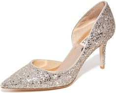 Allover glitter shimmers on these pointed-toe Badgley Mischka pumps. Covered heel and leather sole. Small Heel Shoes, Stiletto Heels, Shoes Heels, High Heels, Glitter Pumps, Look Fashion, Fashion Tips, Stylish Boots, Evening Shoes