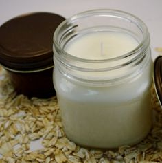 Mason Jar Candle  Oats & Honey Scented Soy by Blackberrythyme, $8.00