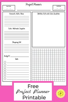 Project Planner Printable [Free PDF for Your Creative Ideas] <br> Manage your projects with this FREE pdf printable project planner. It's great for DIY projects, craft projects, and even your child's school projects. Projects For Adults, School Projects, Craft Projects, School Ideas, Planner Pages, Printable Planner, Free Printables, Planner Ideas, Pages D'agenda