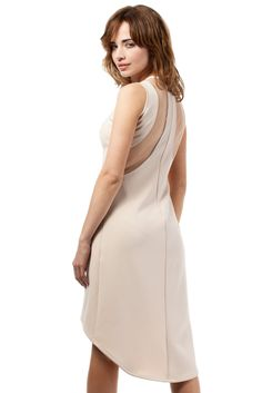 """Asymetryczna sukienka, fason typu """"rybka"""", bez rękawów. Pod szyją  dekolt, na plecach wstawki z przezroczystego tiulu.  #modadamska #moda #sukienkikoktajlowe #sukienkiletnie #sukienka #suknia #sukienkiwieczorowe #sukienkinawesele #allettante.pl"""