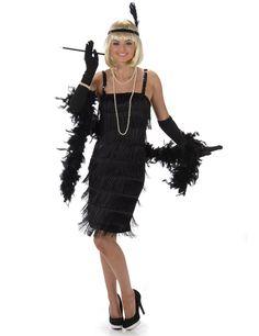 Disfraz de charlestón negro mujer: Este disfraz de charlestón negro para mujer incluye vestido, diadema y guantes (joyas, boa, boquilla, peluca y zapatos no incluidos).El vestido tiene flecos negros con tirantes de lentejuelas....