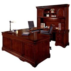 Rue De Lyon Executive U Office with a cherry finish includes a left single pedestal desk, right single pedestal credenza, and U bridge.  Features extending locking drawers, lighting, felt-lined drawers with trays, and drop-front keyboard drawers