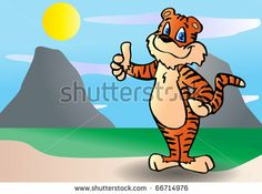 a tiger standing on its two feet and showing it thumb claws illustrations by onime, via Shutterstock