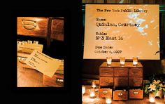 Escort Card, Wedding, Party, Paper - Library cards with guest seating assignments placed in vintage card catalogs
