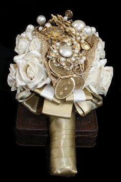 Bride - Vintage Brooch Bouquet - Gold Bouquet - Bespoke Wedding Flowers - Pearl Bouquet - Wedding Broach Bouquet - Alternative Brooch Bouquet. £275.00, via Etsy.