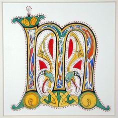 "Beth Lee -- Calligraphy Book Arts -- Gallery of Calligraphy Art -- Illuminated ""M"" Celtic Symbols, Celtic Art, Celtic Dragon, Illuminated Letters, Illuminated Manuscript, Illumination Art, Book Of Kells, Beautiful Calligraphy, Calligraphy Letters"