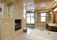 Beautiful bathroom with fireplace!