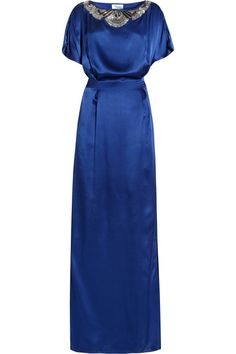 Temperley London Long Deco embellished silk-satin gown