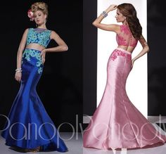 Royal Blue Pink Latest Dress Design 2 Piece Prom Dresses Mermaid Appliques Satin Detachable Two Piece Evening Gowns Teen Dress