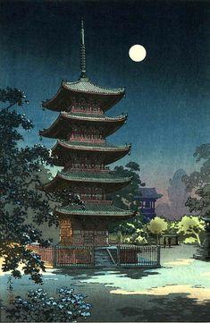 Japanese art Kinryuzan Pagoda Temple night moonlight by ArtPink Japanese Art Prints, Japanese Drawings, Japanese Artwork, Japanese Painting, Chinese Painting, Chinese Art, Japanese Pagoda, Japanese Temple, Japanese Landscape