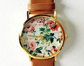 Floral Watch, Vintage Style Leather Watch, Women Watches, Unisex Watch, Boyfriend Watch, Black, Tan, Freeforme Original