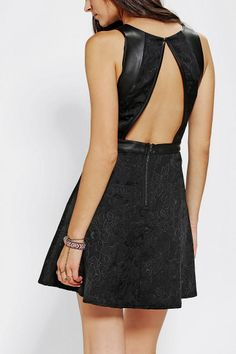 Silence + Noise Bree Jacquard Vegan Leather Dress - Urban Outfitters