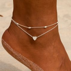 Female Heart Anklets Barefoot Crochet Sandals Foot Jewelry New Ankle Ankle Foot Anklets Bracelets For Women Leg Chain Ankle Jewelry, Dainty Jewelry, Cute Jewelry, Body Jewelry, Silver Jewelry, Silver Ring, Silver Earrings, Gold Rings, Diamond Earrings