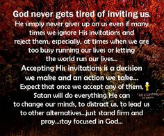 Accepting God's invitations
