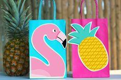 DIY Flamingo Favor bags. Simply Download, Print, Cut, and Paste.