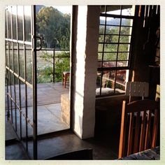 Joe de Villiers Designs: Stunning Steel & Glass Balcony with Industrial Swing Door Shisa Guest Farm Tulbagh Western Cape RSA