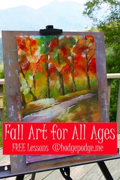 A few leaves are already starting to turn here in the south and that means it's time to turn our attention to fall art! Pull out those fantastic reds, oranges, browns, yellows and greens. Don't you love a fall palette? These colors make me so happy! I've put together a list of our best art lessons for fall below: Fall Acrylic Trees Tutorial – I