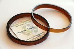Wine Bottle Bracelets, GLASS BANGLES, Recycled Glass Bracelets, Upcycled Jewelry, Wine Bottle Rings, BROWN Bracelets,  Dessin Creations