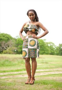 Iconicity Fashion- Ethnic african cotton fabric print crop top and pencil skirt