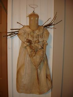 Everyday Angel - Primitive angel with vintage christening gown