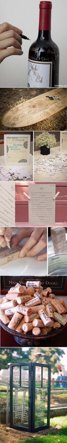 @Deanna Patterson! Different guest book ideas! The wine cork one is super cute!