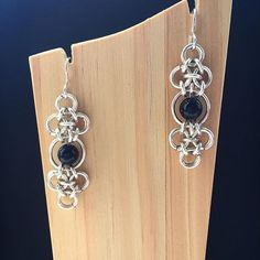 Midnight Earrings with Blue Goldstone  #handcrafted #chainmaille #contemporaryjewellery #jewellery #madeinscotland #goldstone #earrings #MindarlaDesign