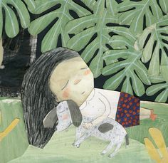 Poésie pour la vie (2015) on Behance. Sleeping girl and doggy.