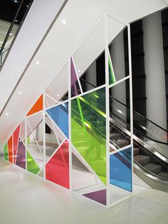 Colourful window bright shapes #office #wall #graphic #inspiration