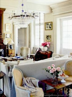 thedecorista:  i love a little sitting area behind a sofa… via