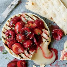 Grilled Camembert with Macerated Cherries and Rosemary | MyRecipes.com