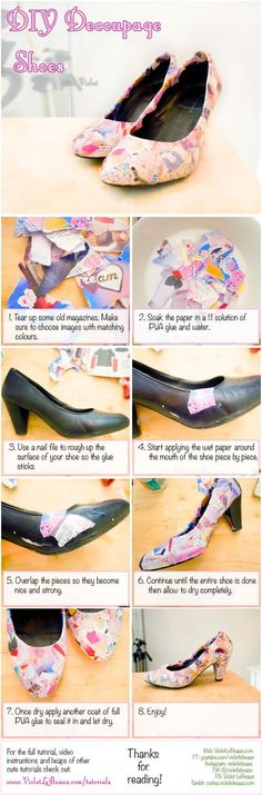 How to give boring shoes a make over into something more fun using magazines! DIY Decoupage Shoes Tutorial   Violet LeBeaux- Cute Free Craft Tutorials