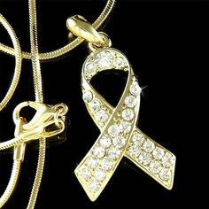 Gold Plated NEW Childhood Cancer Endometriosis Swarovski Crystal Awareness Ribbon Pendant Charm Necklace Christmas Gift Pendant Jewelry, Pendant Necklace, Childhood Cancer Awareness, Christmas Gifts For Men, How To Make Ribbon, Gold Ribbons, Awareness Ribbons, Beautiful Necklaces, Crystals