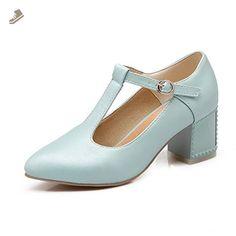 A&N Womens Kitten-Heel T-Bar No-Closure Blue Urethane Pumps Shoes - 7.5 B(M) US - An pumps for women (*Amazon Partner-Link)