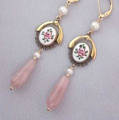 Upcycled Pink Rose, Pearl, Gold Filled Earrings - One of a Kind Jewelry Designs by jryendesigns.etsy.com