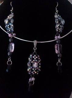 Purple and Crystal Jewelry Set by GlassSlipperGLAMOUR on Etsy