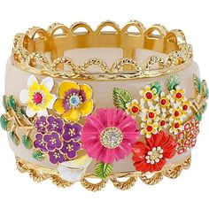 Betsey Johnson Multi Flower Hinged Bangle Bracelet ($195) ❤ liked on Polyvore featuring jewelry, bracelets, accessories, bangles, betsey johnson, multi, flower bangle bracelet, flower bangle, colorful jewelry and betsey johnson bangle