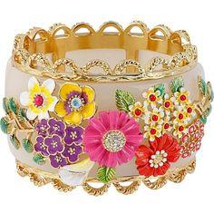 Betsey Johnson Multi Flower Hinged Bangle Bracelet ($195) ❤ liked on Polyvore