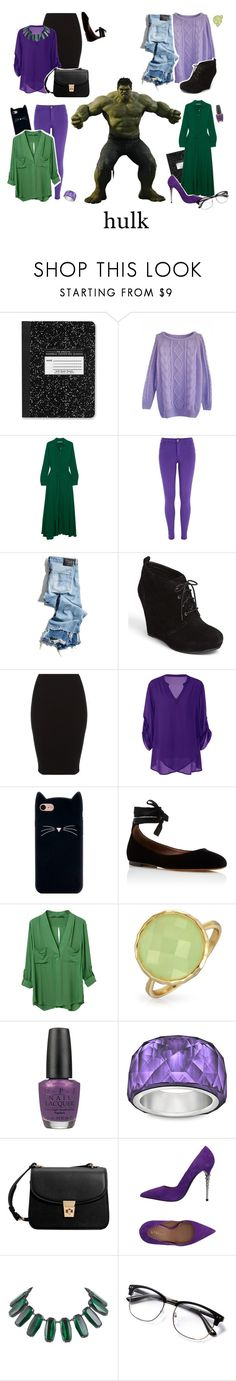 """""""&&✧; hulk bound / belle"""" by disney-darlings ❤ liked on Polyvore featuring Rosetta Getty, River Island, R13, Jessica Simpson, Tabitha Simmons, Marvel, Bling Jewelry, OPI, Swarovski and MANGO"""