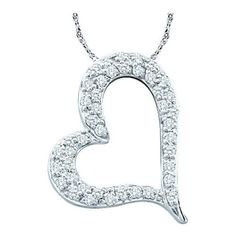 10K White-gold 0.34CTW ROUND DIAMOND LADIES HEART PENDANT