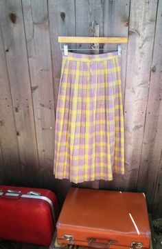 1950s Vintage Yellow & Purple Plaid Skirt by LousLoveliness, $33.00