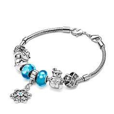 Pugster Christmas Gift Aquamarine Murano Glass Silver Metal Beads Snowflake Dangle Bracelet Bracelets Pugster. $49.99. Metal: Silver Stone. Weight (gram): 44.2. Size (mm): 11.28*9.18*15.58. Color: Aquamarine